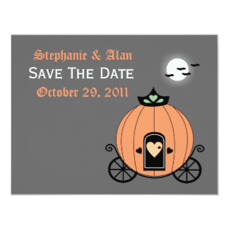 Pumpkin Carriage At Night Save The Date Card