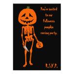 "Pumpkin carving Halloween 5"" X 7"" Invitation Card"