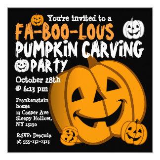 Pumpkin Carving Halloween Party Invitation