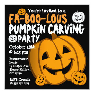 "Pumpkin Carving Halloween Party Invitation 5.25"" Square Invitation Card"