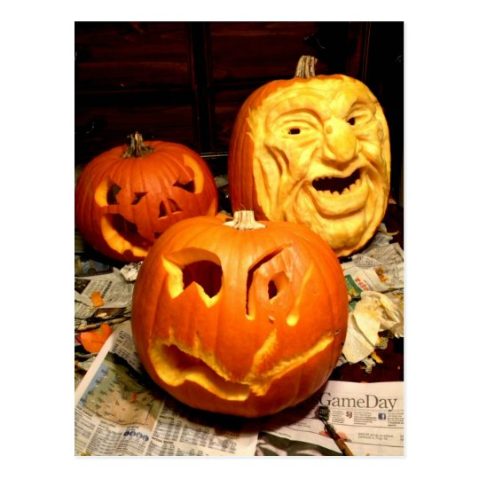 Pumpkin Carving I Postcard