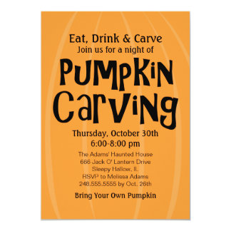 "Pumpkin Carving Party | Halloween 5"" X 7"" Invitation Card"