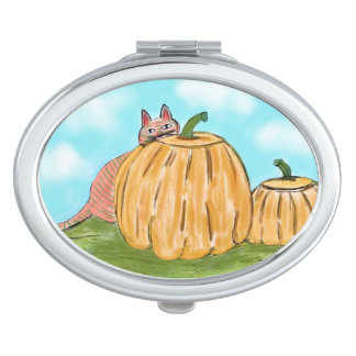 """Pumpkin Cat"" Compact Mirror"