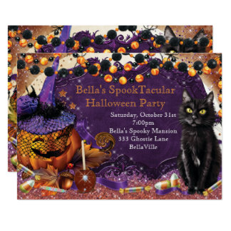 Pumpkin Cat Halloween Party Invitations