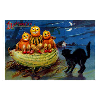 Pumpkin Characters and Black Cat Poster