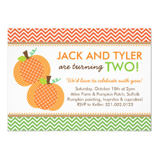 Pumpkin Chevron Party Invitation