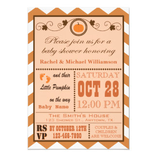 Pumpkin Chevron Pattern Baby Shower Invitation