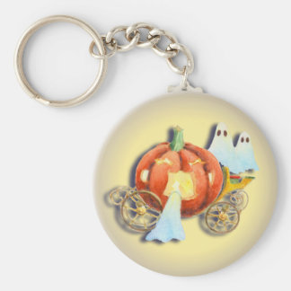 PUMPKIN COACH & GHOSTS by SHARON SHARPE Basic Round Button Keychain