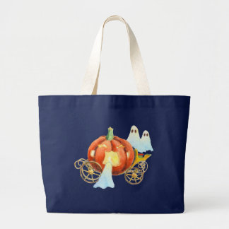 PUMPKIN COACH & GHOSTS by SHARON SHARPE Large Tote Bag