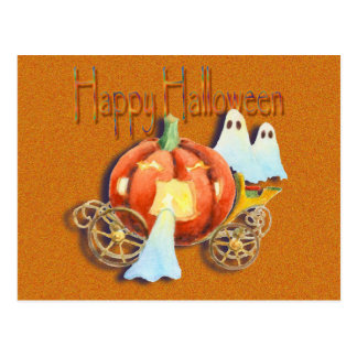 PUMPKIN COACH & GHOSTS by SHARON SHARPE Postcard