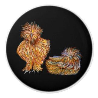 Pumpkin Coloured Fancy Chicken Knobs Ceramic Knob