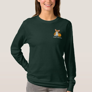 Pumpkin Corgi Embroidered Shirt (Long Sleeve)