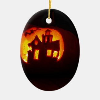 Pumpkin_craft_for_Halloween Ceramic Oval Ornament