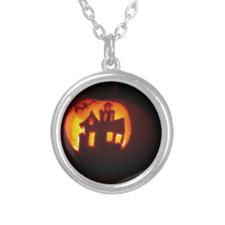 Pumpkin_craft_for_Halloween Silver Plated Necklace
