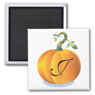 Pumpkin Design Monogram J Magnet