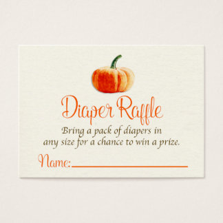 Pumpkin Diaper Raffle Card, Diaper Raffle Card
