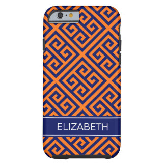 Pumpkin Dk Gray Med Greek Key Diag T Name Monogram Tough iPhone 6 Case
