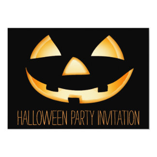Pumpkin Face Halloween Party Invitation Card