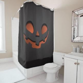 Pumpkin Face Halloween Themed Shower Curtain