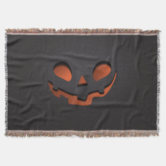 Pumpkin Face Halloween Themed Throw Blanket