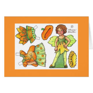 Pumpkin fairy blank paper doll note card