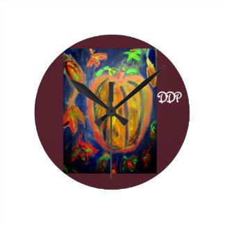 Pumpkin fall art round clock