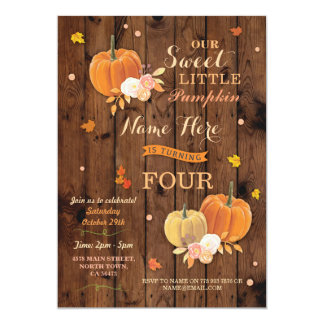 Pumpkin Fall Birthday Party Rustic Wood Invitation