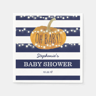 Pumpkin Fall Chic Boy Baby Shower Blue Disposable Napkins