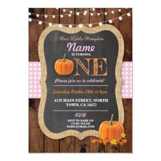 Pumpkin Fall First Birthday Party One Invite
