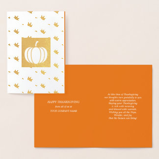 Pumpkin & Falling Leaves Thanksgiving Luxury Card