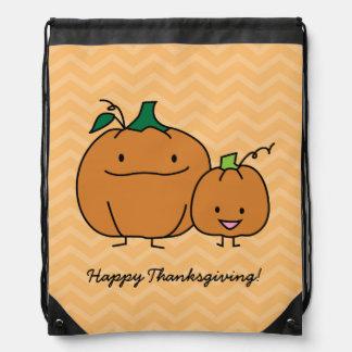 Pumpkin family parent child Thanksgiving Halloween Drawstring Bag