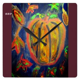 Pumpkin fell art square wall clock
