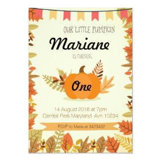 Pumpkin First Birthday Invitation