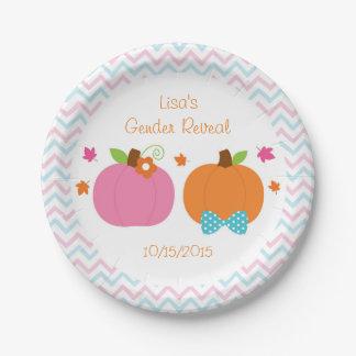 Pumpkin Gender Reveal Paper Plate