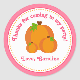 Pumpkin Girl Birthday Party Favor Stickers