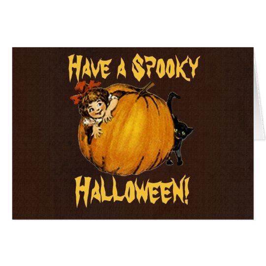 Pumpkin, Girl & Black Cat Vintage Halloween Card