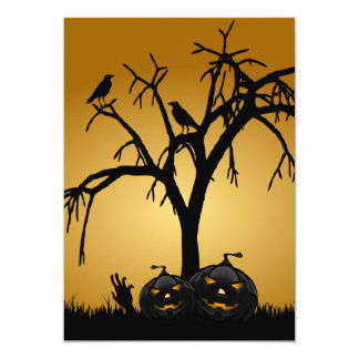 Pumpkin Halloween Party Invitation-burnt orange Card