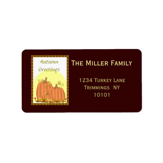 Pumpkin Harvest Address Label