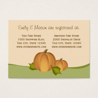 Pumpkin Harvest Shower Registry Business Card