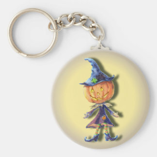 PUMPKIN HEAD by SHARON SHARPE Basic Round Button Keychain