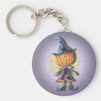 PUMPKIN HEAD & GHOSTS by SHARON SHARPE Basic Round Button Keychain