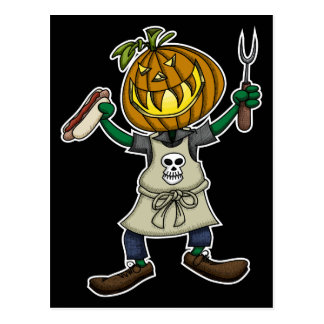 Pumpkin Head Grilling Postcard