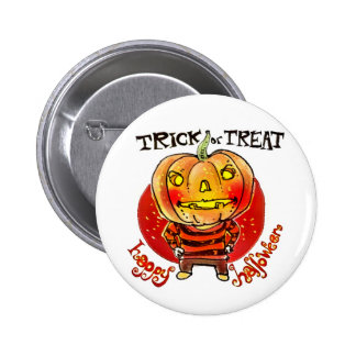 pumpkin head halloween boy trick or treat cartoon 2 inch round button