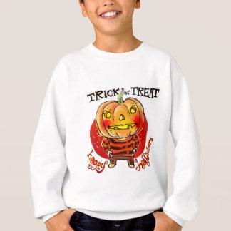 pumpkin head halloween boy trick or treat cartoon sweatshirt