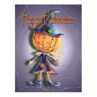 PUMPKIN HEAD, JACK & SPIDER WEB by SHARON SHARPE Postcard