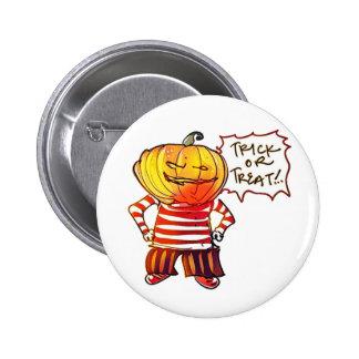 pumpkin head kid say trick or treat halloween 2 inch round button