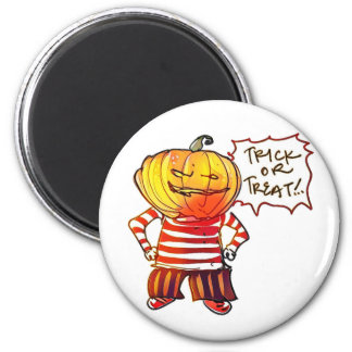 pumpkin head kid say trick or treat halloween 2 inch round magnet