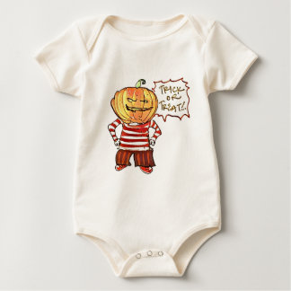 pumpkin head kid say trick or treat halloween baby bodysuit