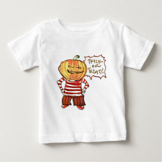 pumpkin head kid say trick or treat halloween baby T-Shirt
