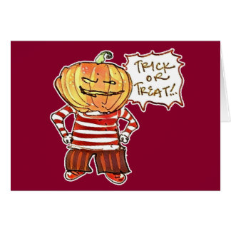 pumpkin head kid say trick or treat halloween card